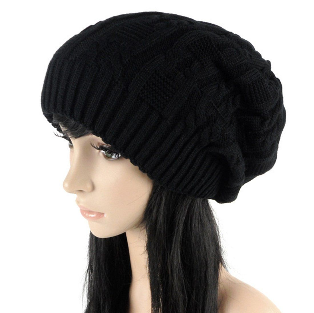 e8693a3c084 Fengtre Womens Winter Knit Chunky Ribbed Slouch Pull Back Ski Skully Skull Slouchy  Beanie Warm Hat    Find out more about the great product at the image ...