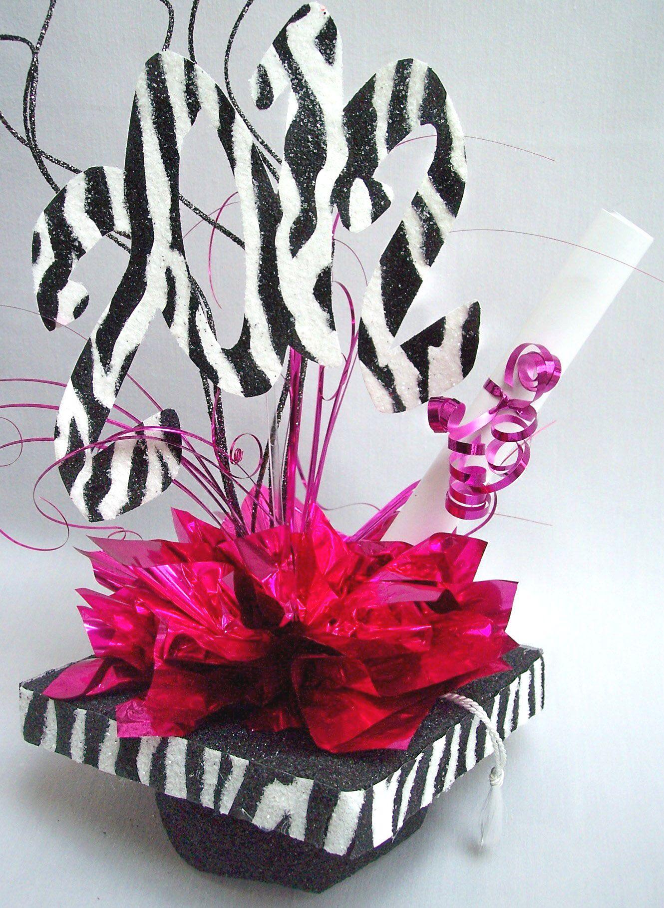 Graduation Party Centerpieces Ideas | Zebra graduation mortar board hat centerpiece | www.DesignsbyGinny.com ...