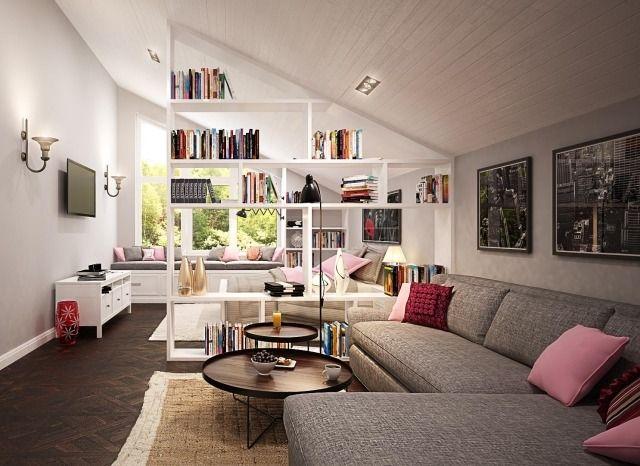 Regalsysteme Raumteiler wohnideen dachschragen regalsystem raumteiler fenster sitzbank