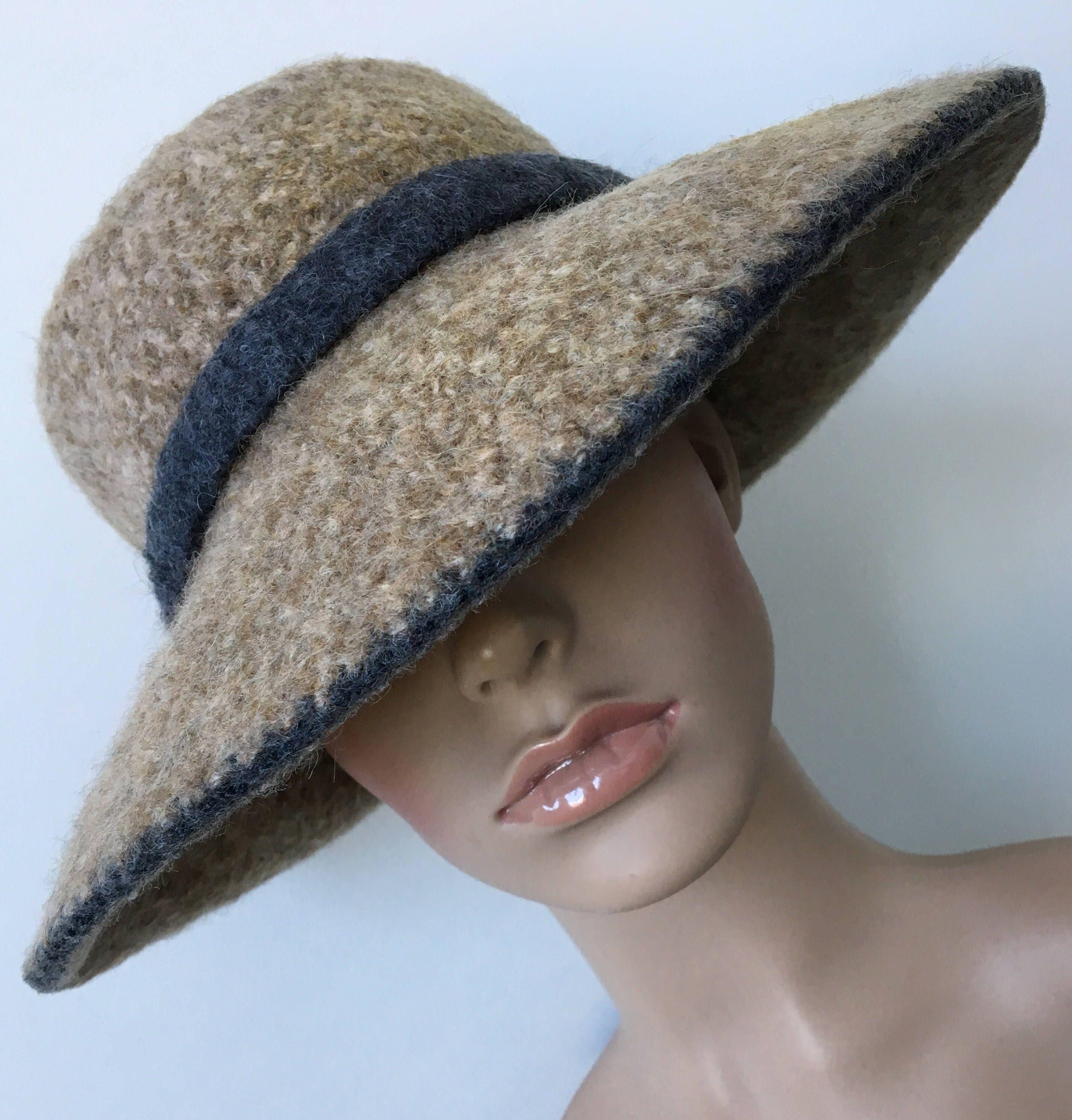 c86fd820350 Wool Cloche Hat Felted Wool Hat Felted Wide Brim Hat Handmade Felted ...