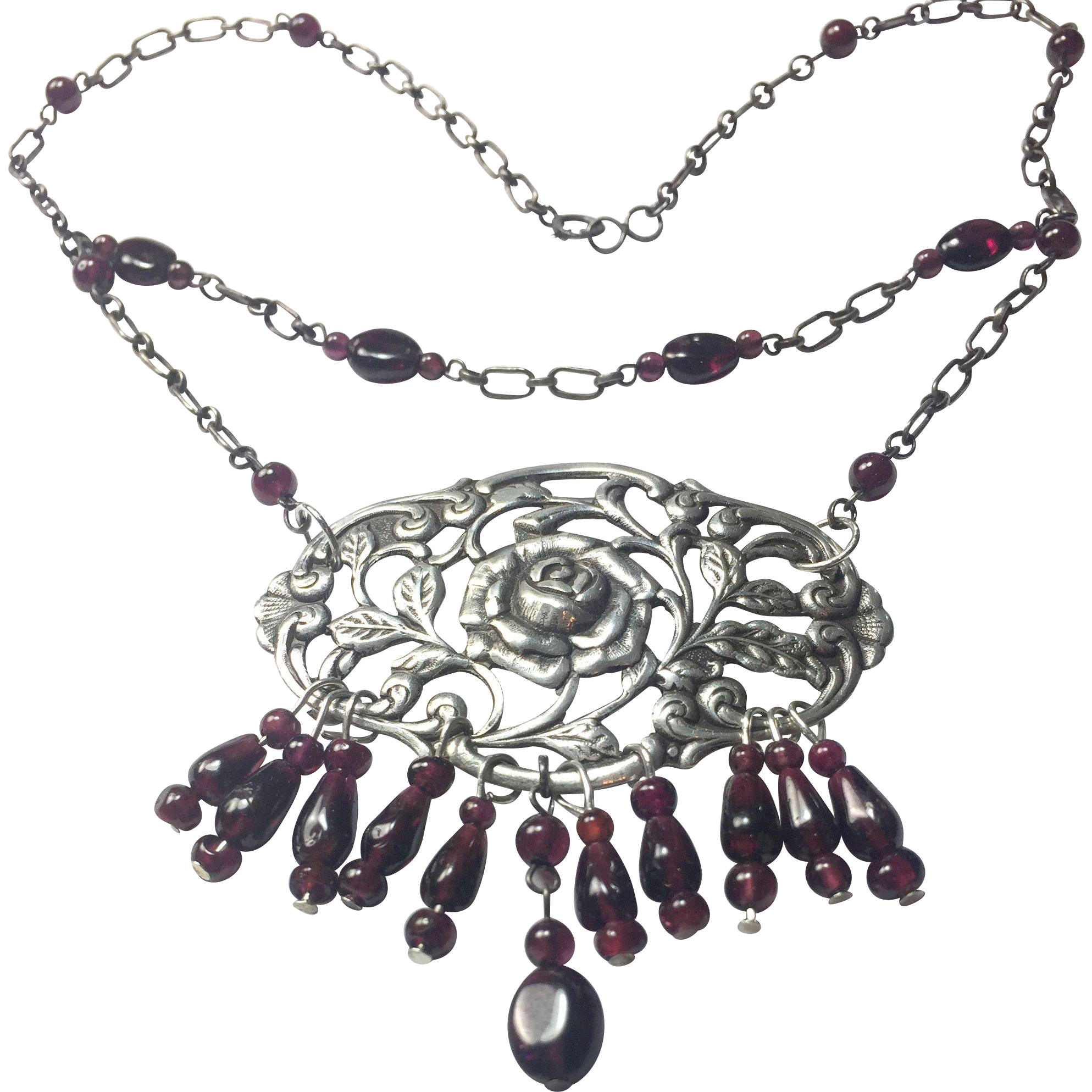 sterling silver and nouveau tier garnets necklace natural antique pin dutch art upcycled
