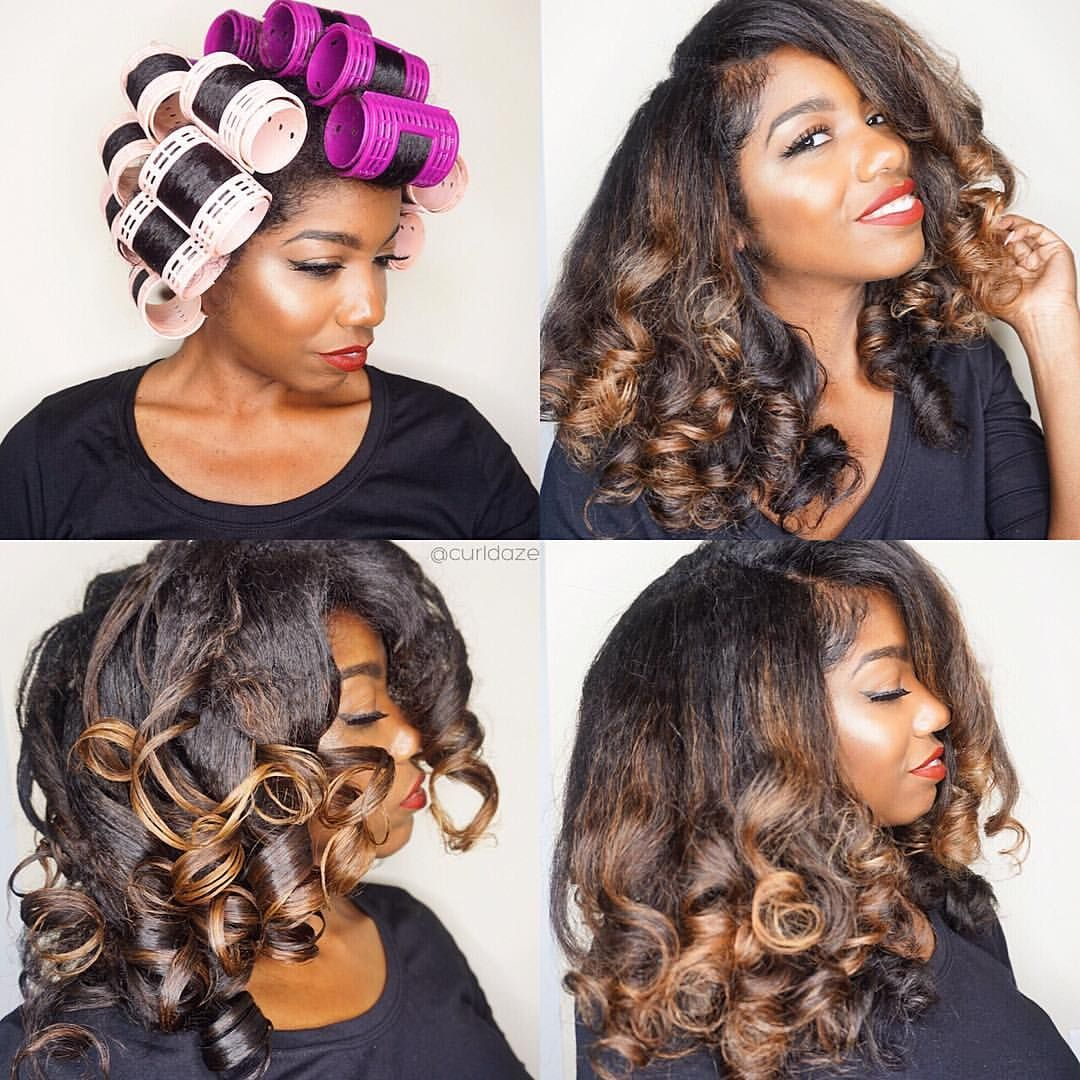 roller hair hairstyles natural sets instagram still styles relaxed curls curly soooo glad haven done afro