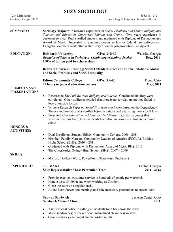 Ministry Resume Templates College Resume Template  Httpwwwresumecareercollege