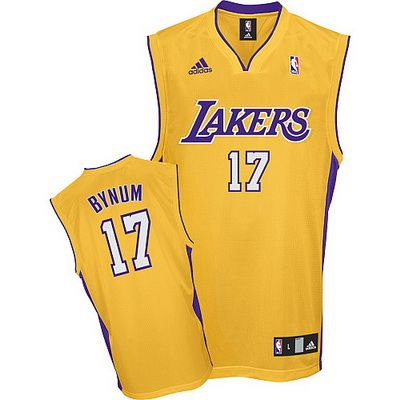 1aaf4d4cd ... Adidas Los Angeles Lakers Andrew Bynum Yellow Home NBA Stitched Jersey  ...