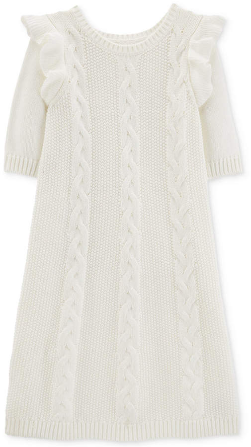 56111dd483 Carter s Little   Big Girls Cable-Knit Sweater Dress - Ivory Cream 6 ...