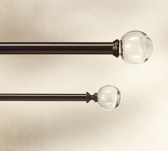 Vintage Glass Ball Finial Drape Rod Oil Rubbed Bronze Finish Pottery Barn Bronze Curtain Rods Glass Ball Glass Finial
