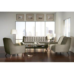 Natalia Mid Century Modern Dove Grey Loveseat Living
