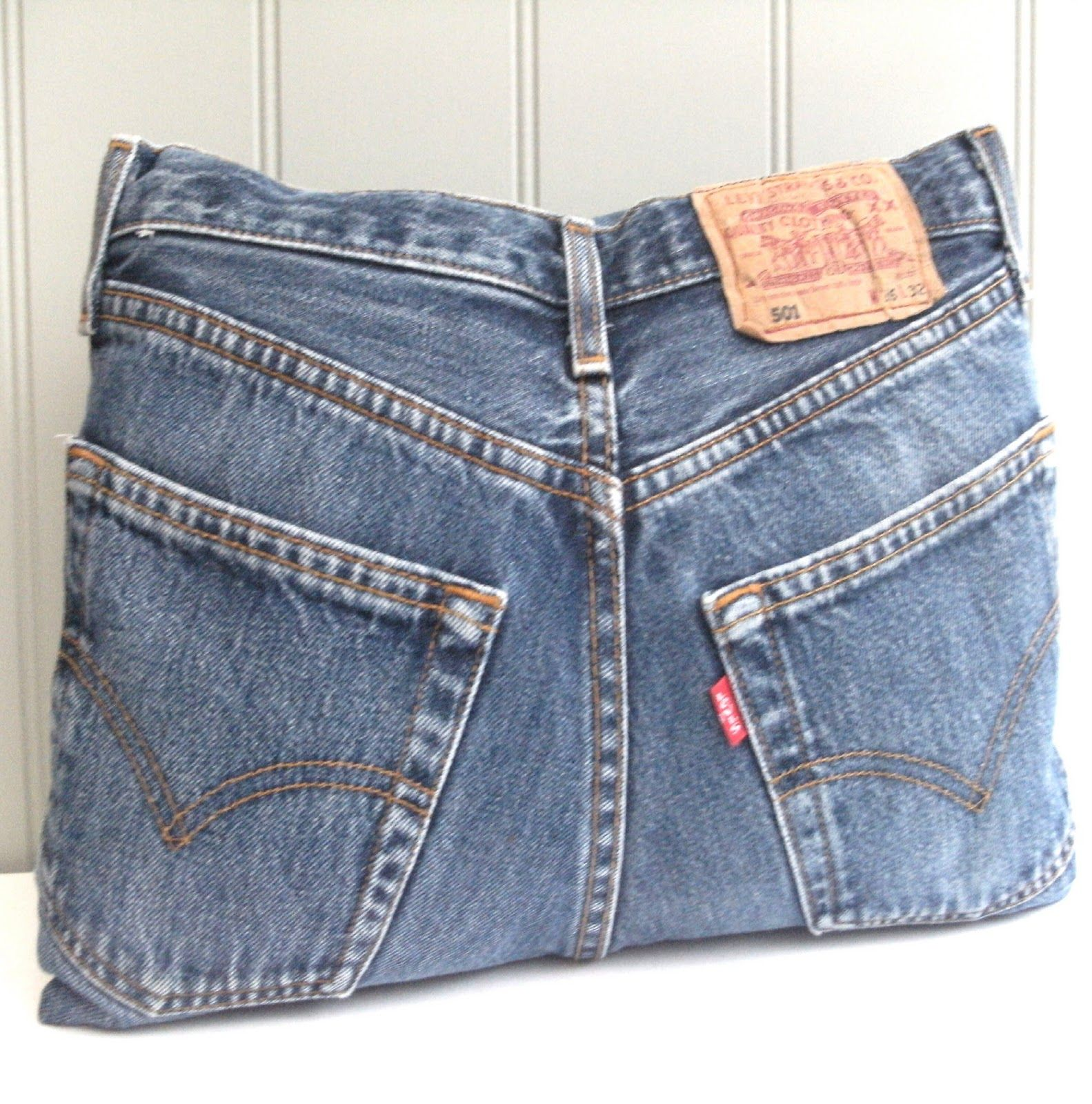 recycled denims into cushion cover