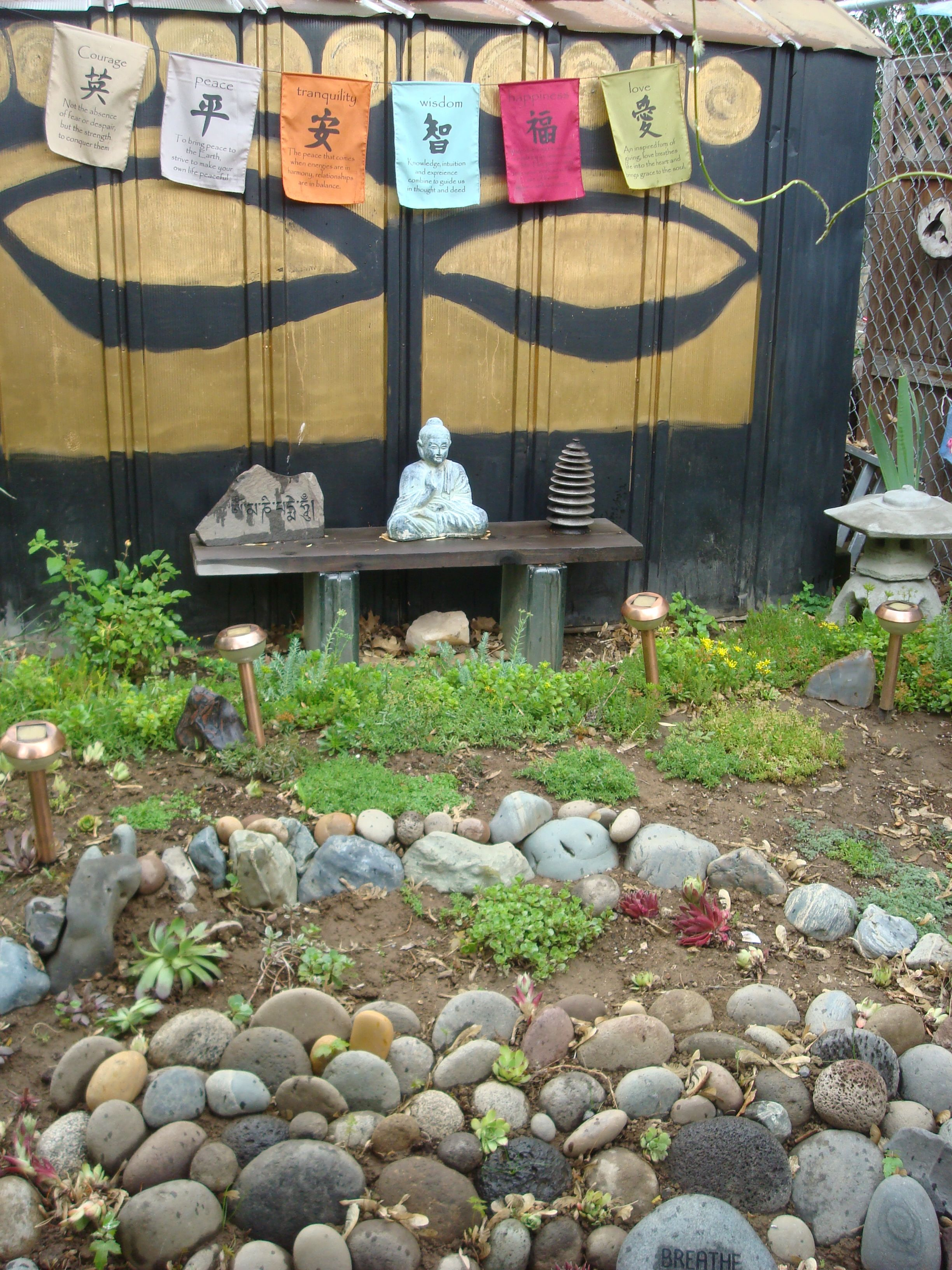 Transform An Old Metal Shed With Spray Paint, Meditation Garden