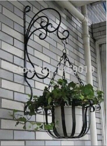 New Arrival Wrought Iron Wall Hanging Pot Rack Basket Hook The Balcony Lanterns Wall Hanging Bas Outdoor Wall Decor Large Iron Wall Art Wrought Iron Wall Art