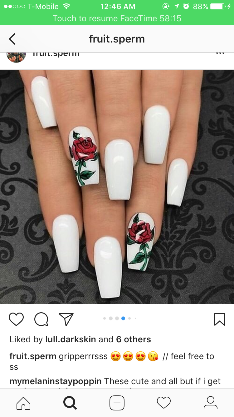 Pin By Cam On Matte Nails Rose Nails White Acrylic Nails Coffin Shape Nails