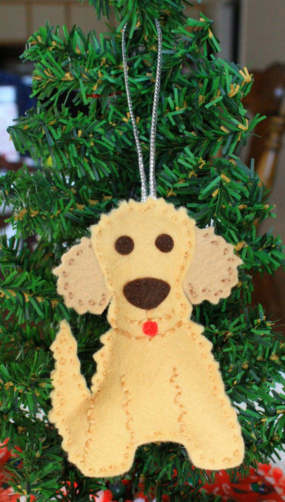 felt christmas ornament goldendoodle by feltnostalgic on etsy 795