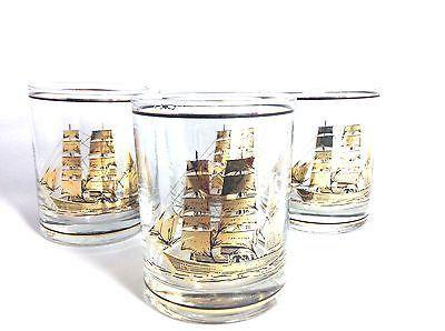 Vintage Culver Glasses Rocks Double Manhattan Mid Century Clipper Ship