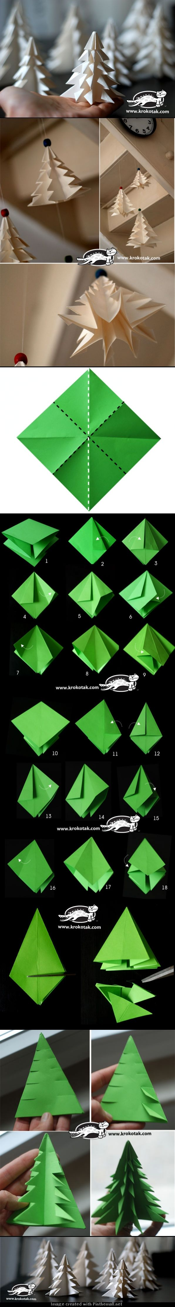 How to fold and cut a christmas tree origami craft paper