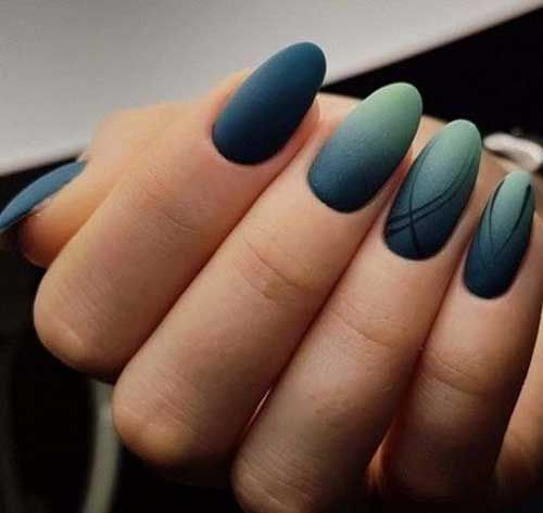 Matte Oval Shape Nail Design