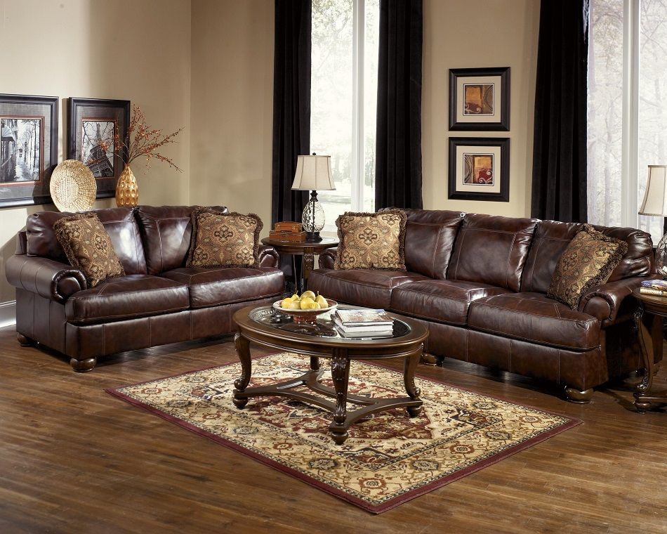 Ashley Furniture Axiom Collection 42000 Sofa Loveseat Set Living Room Leather Walnut Living Room Living Room Sets Furniture