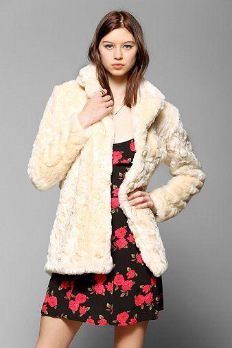 Glamorous Cream Faux Fur Jacket