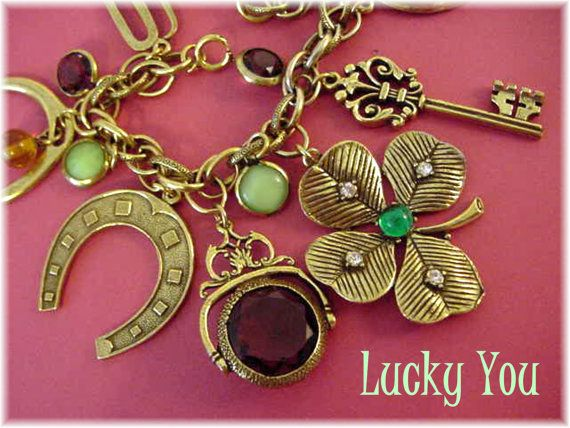 Luck of The Irish - Braided Double Link Chunky Charm Bracelet ~ Fancy 1950s Costume Good Luck Charm Fob ~ Horseshoe Shamrock - FREE SHIPPING