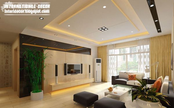 False Ceiling Designs For Living Room With Flat Screen Tv And Dark Brown Sofa S Ceiling Design Living Room False Ceiling Living Room Elegant Living Room Design