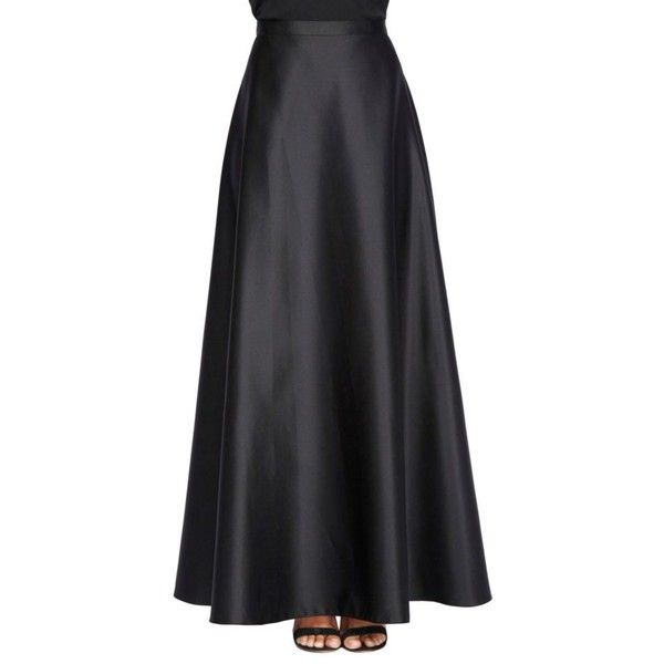 e8496110971 Alex Evenings Black Long Satin Skirt - Women's ($79) ❤ liked on Polyvore  featuring skirts, black, slim skirt, long satin skirt, long skirts, satin  maxi ...