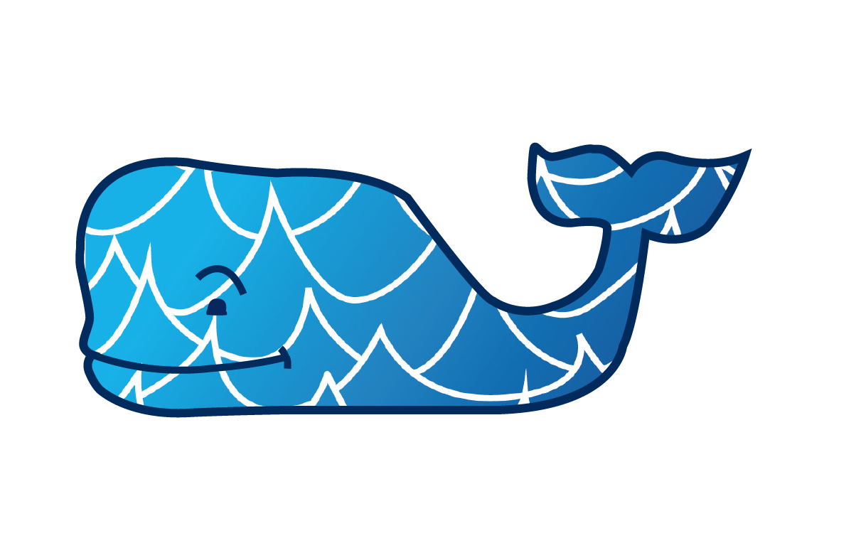 Vineyard Vines wave whale sticker Hydroflask stickers