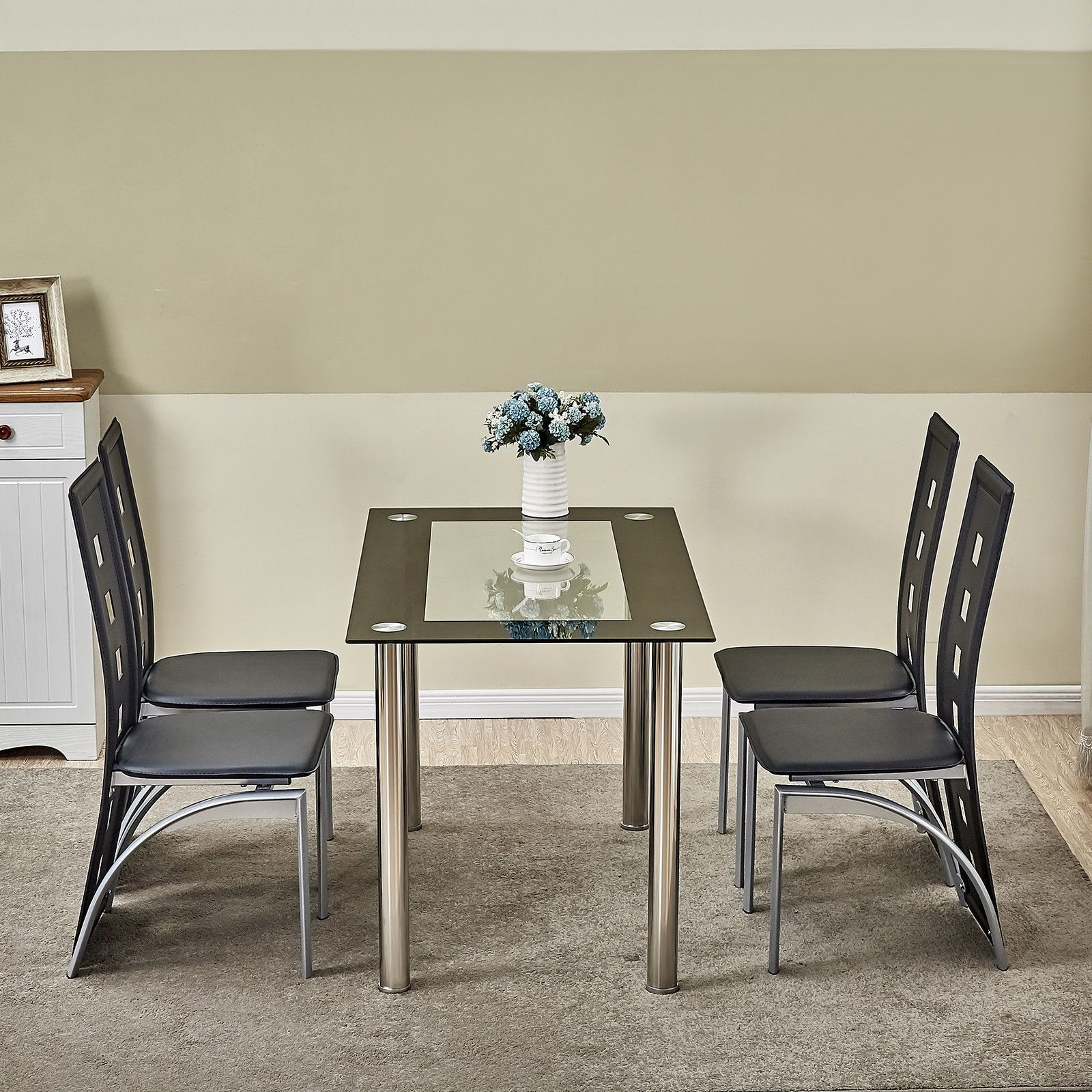5 Piece Glass Dining Table Set W Chair Kitchen Furniture