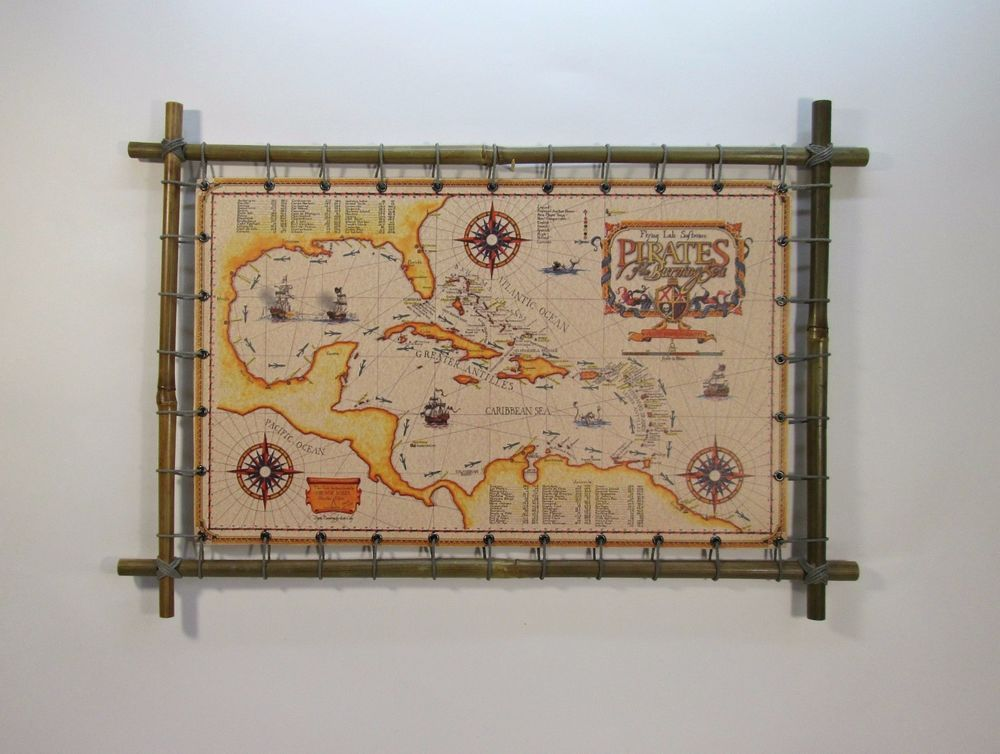 Sea pirate map on canvas in a bamboo frame 285 x 410 mm.