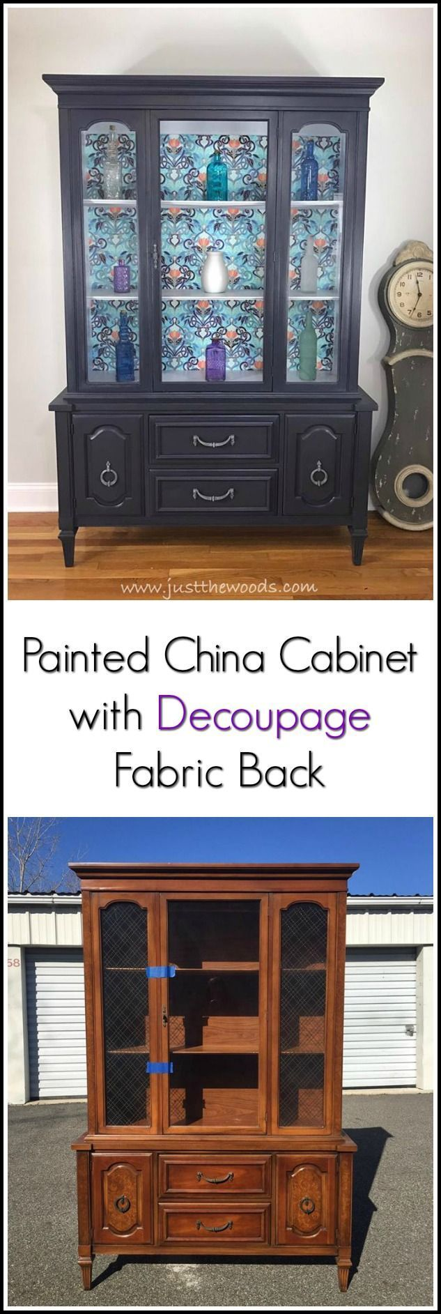 China Cabinet With Decoupage Fabric Backing Painted China Cabinets Vintage China Cabinets Furniture Makeover