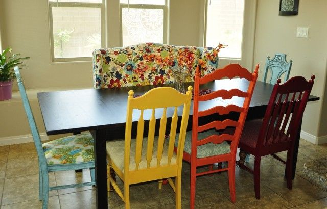colorful kitchen chairs green countertops mismatching at table i like this idea it s quirky and fun