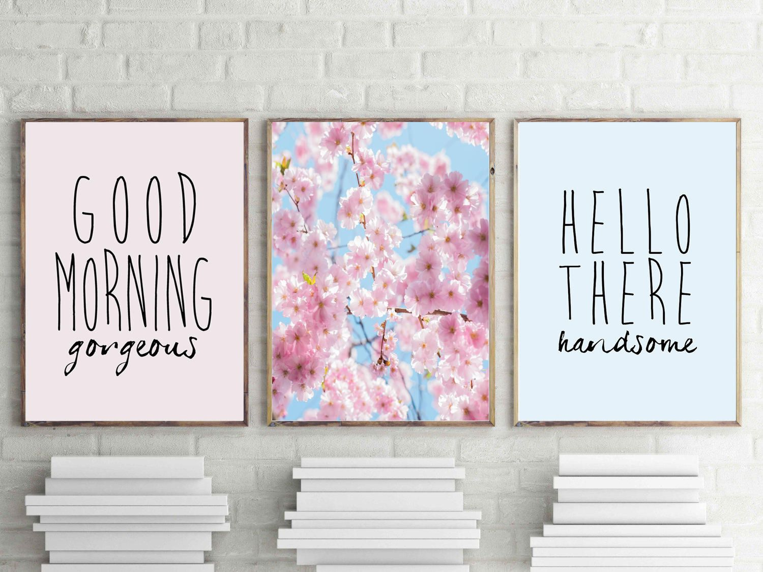 Good Morning Gorgeous Print Hello Handsome Wall Art Set Of 3 Bedroom Prints Cherry Blossom Poster S Love Bathroom Decor Kitchen