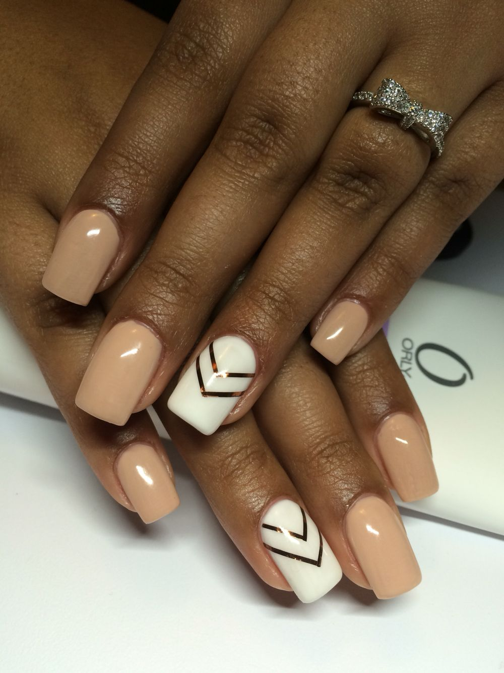 Nude nails with white nail and rose gold design | Nail time ...