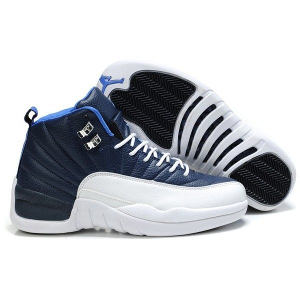 77a7bb716114 Stylish Air Jordan 12(XII) Retro Sneakers (Deep Blue White)J12-056 via  Polyvore