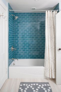 aqua glass subway tile in shower found