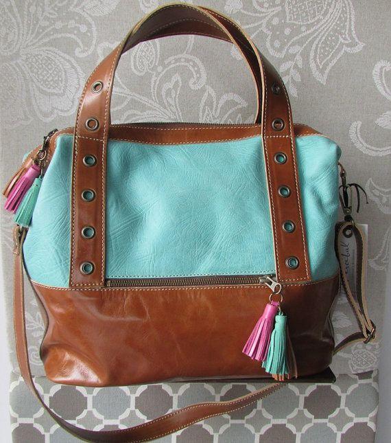 Leather Travel Bag Aqua Oversized Handbag By Percibal 230 00