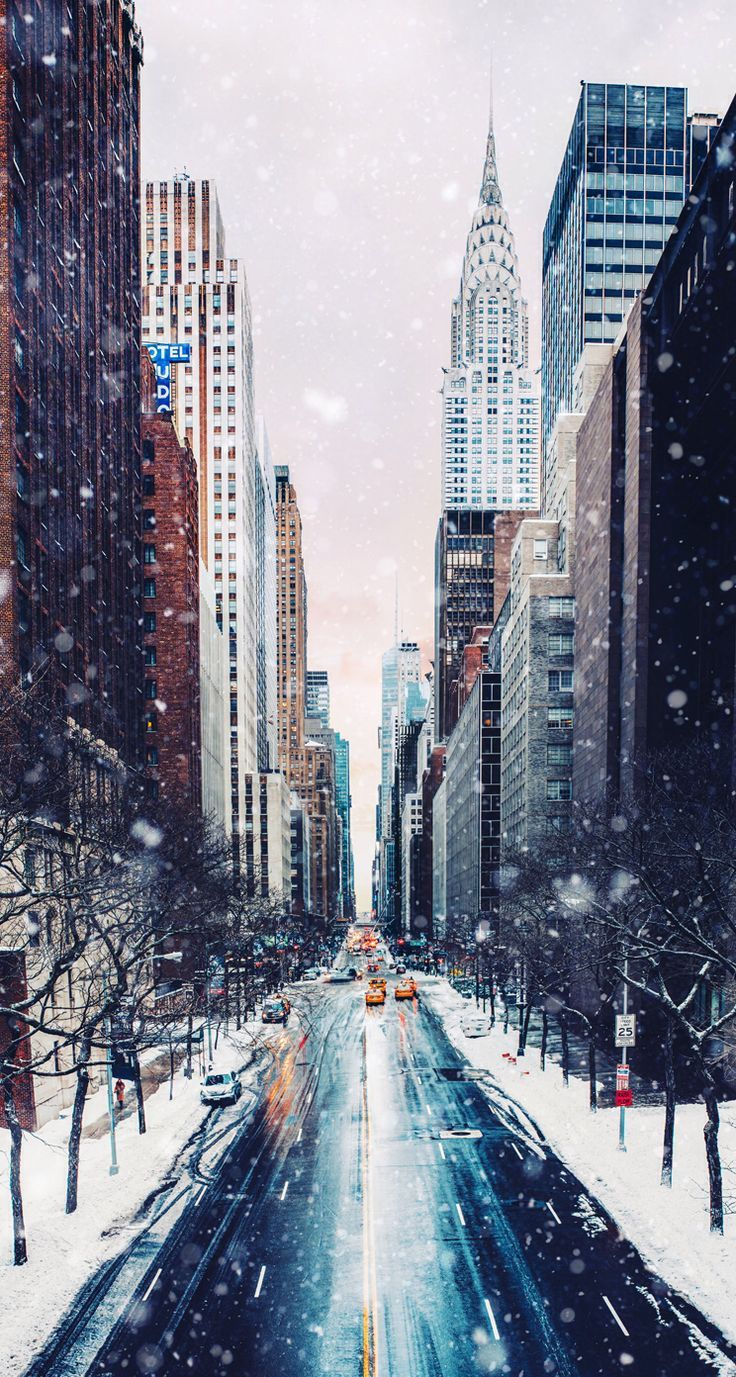 Nyc In The Snow City Wallpaper Winter Photography New York Wallpaper