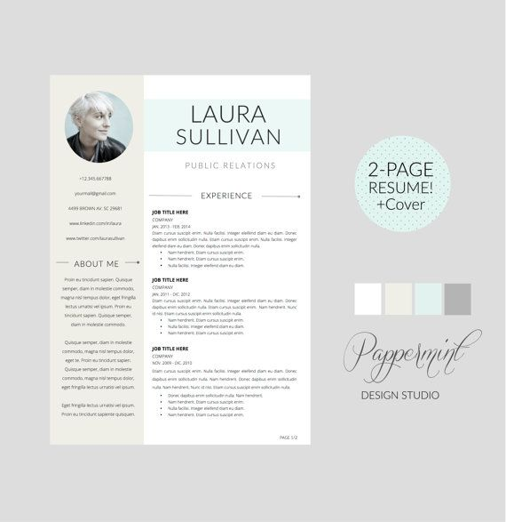 Plantilla para CV y Cover Letter para WORD por Pappermint en Etsy - cover letter template microsoft