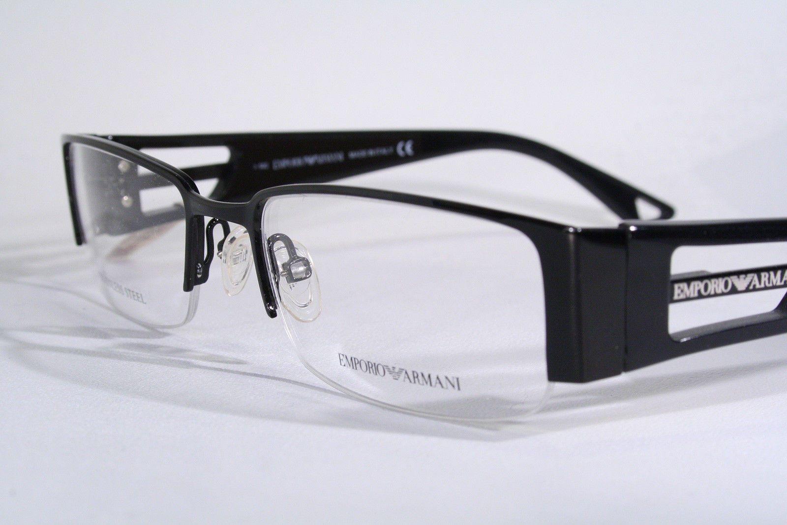 EMPORIO ARMANI New Half Rimless Black Rectangular Eyeglass Frames ...