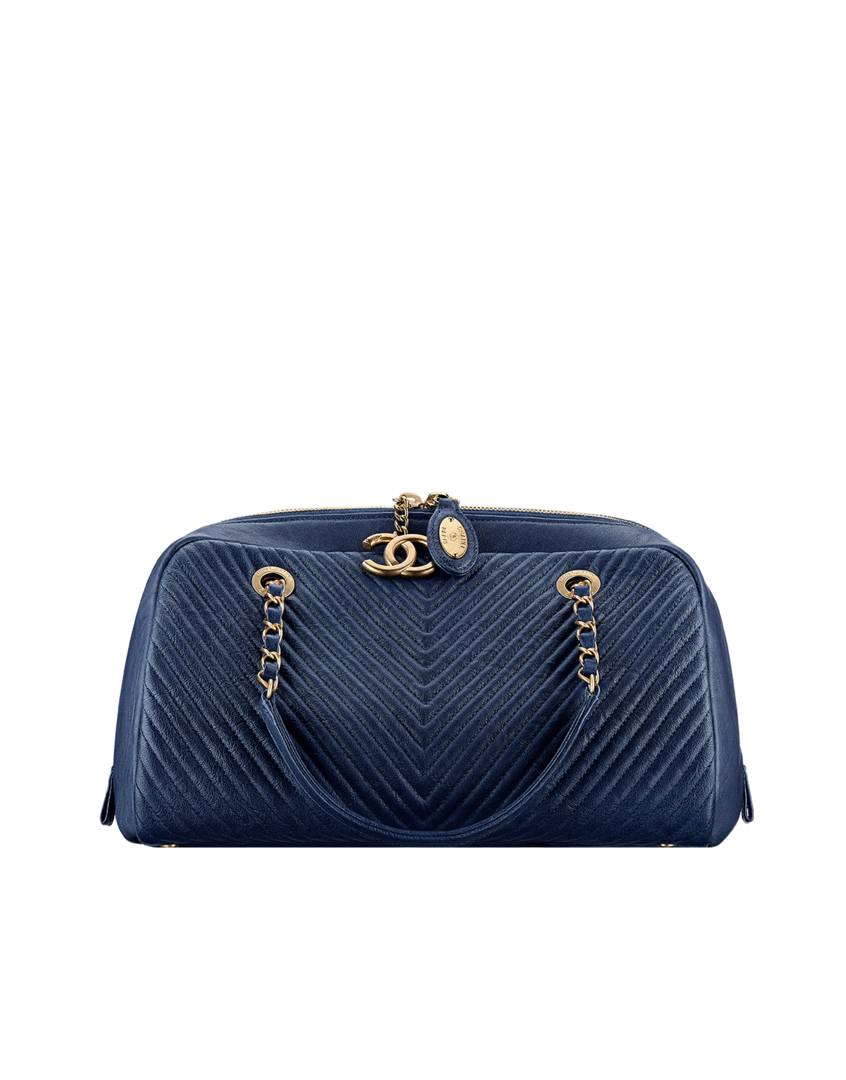 Bowling bag, lambskin-navy blue - CHANEL   WANTS   Chanel handbags ... 756127fc3a