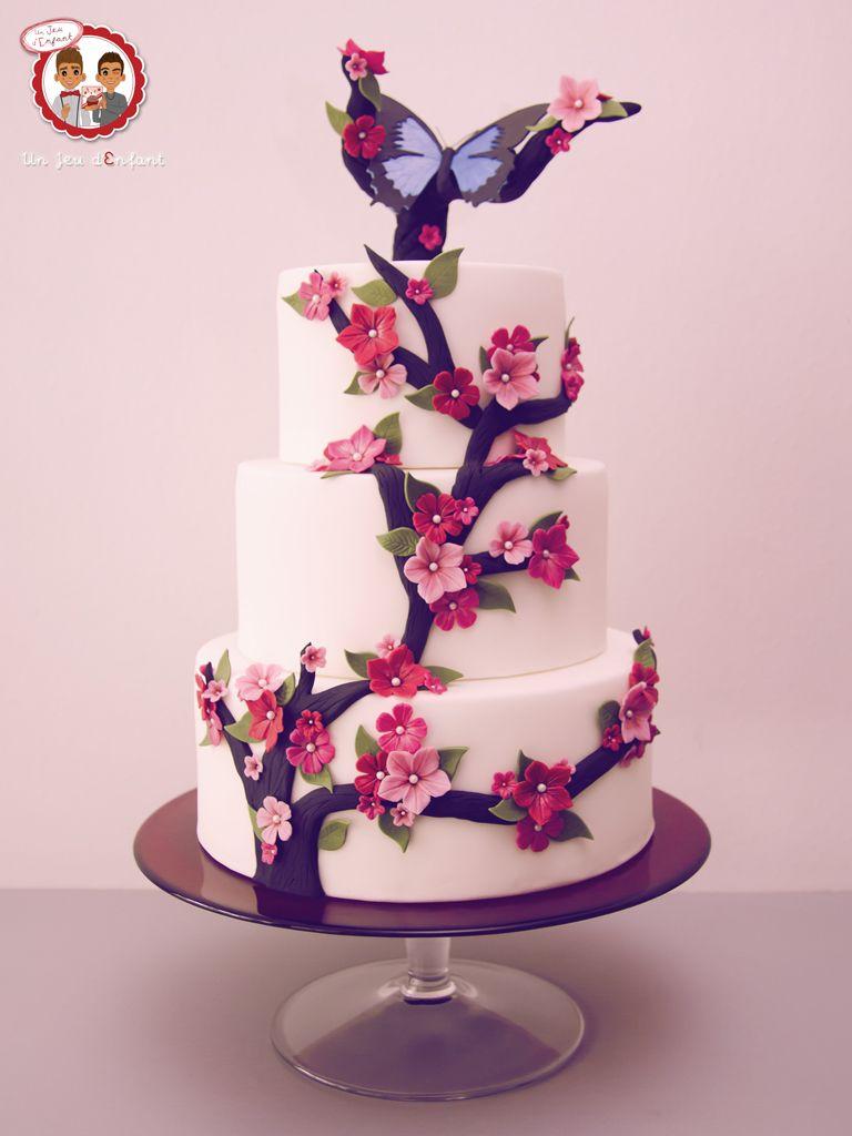 Wedding cake cherry blossom g teau papillon fleur de - Image papillon et fleur ...