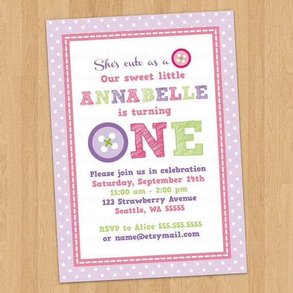 cute button first birthday party invitation digital printable any