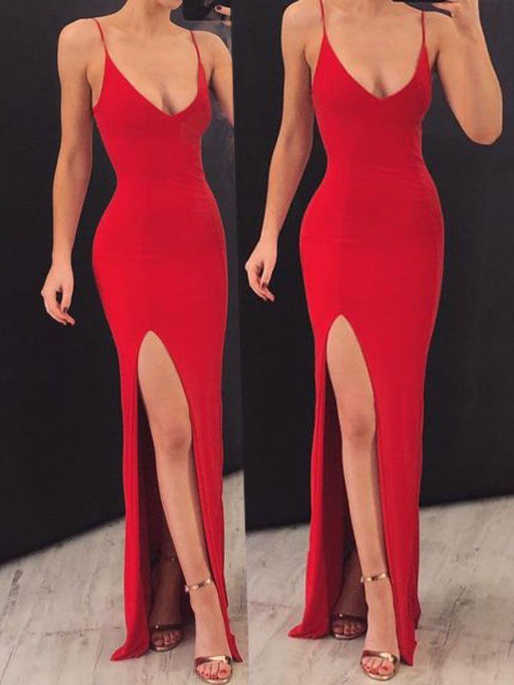 9730ee1f6b6 Sheath V Neck Spaghetti Straps Red Elastic Satin Long Prom Dresses PG797   red  splitdress  promdresses  straps  vneck  satinpromdress  eveningdress  ...
