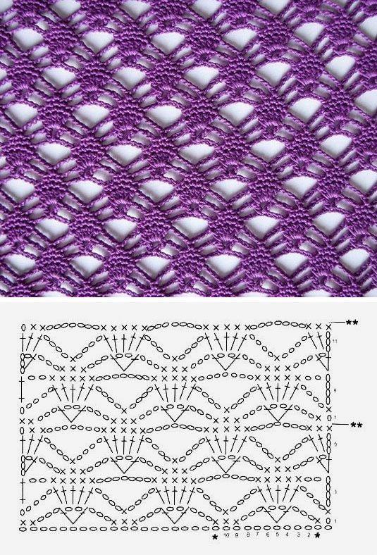 Beautiful crochet pattern   Рукав   Pinterest   Puntadas, Ganchillo ...