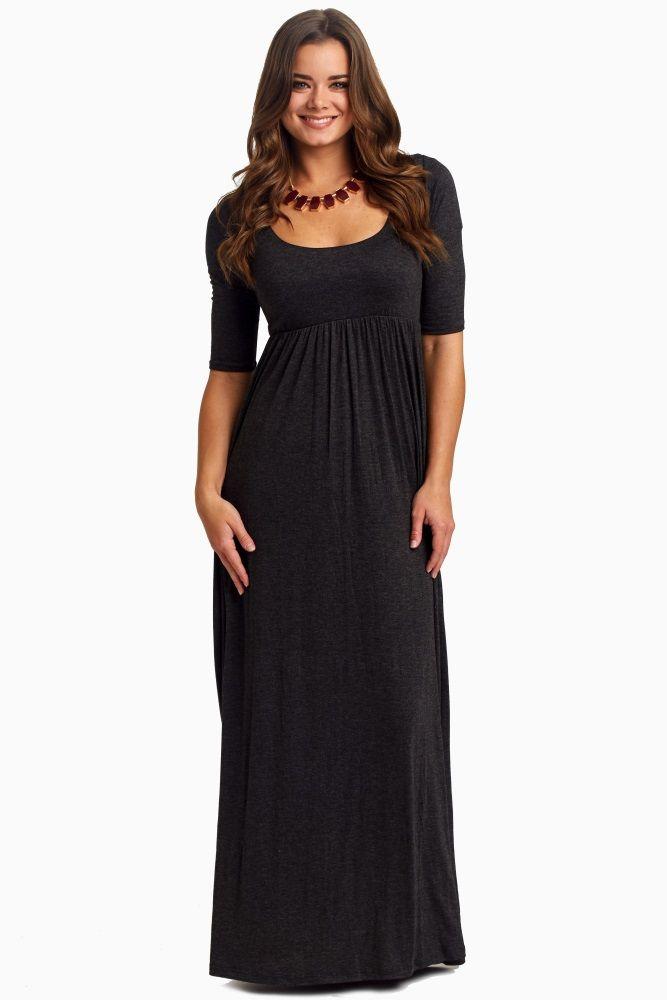 96b555d45d Charcoal 3 4 Sleeve Maternity Maxi Dress
