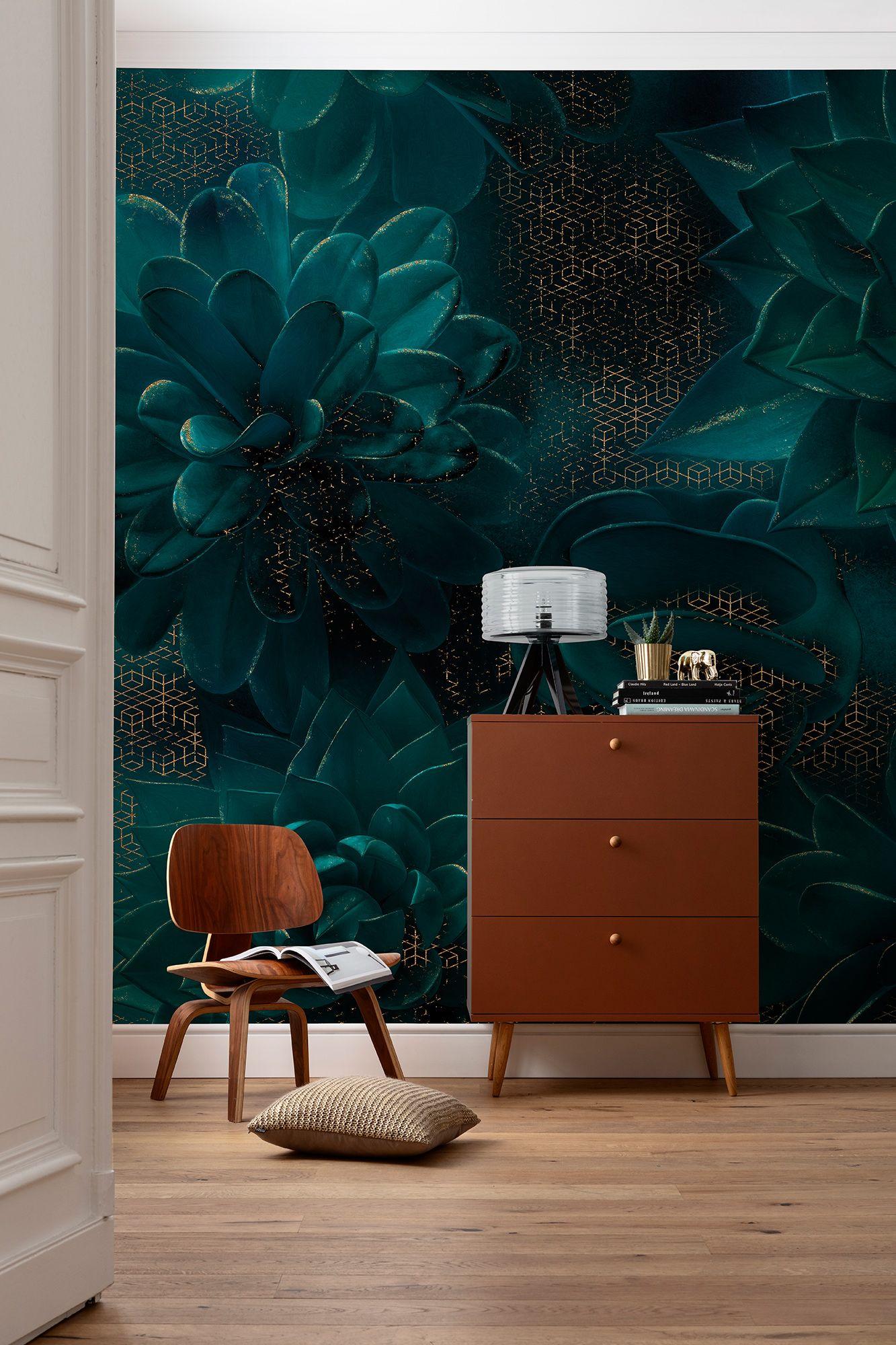 Vliestapete Ombres Von Komar In 2020 Tapete Wohnzimmer Tapete Petrol Schoner Wohnen Farbe
