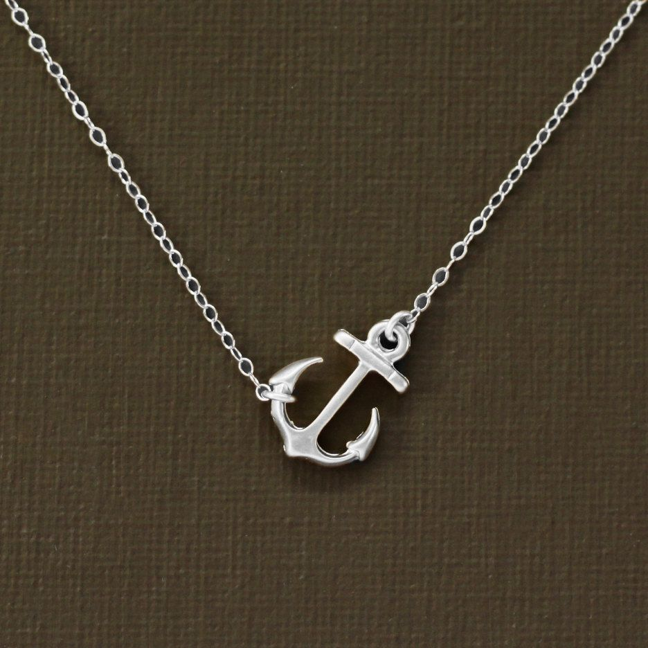 """Never drift apart - best friends necklace"" Sideways Silver Anchor Necklace - Sterling Silver Chain. $21.00, via Etsy."