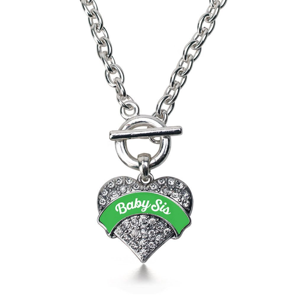 Baby Sis Pave Heart Toggle Necklace- Select Your Color!
