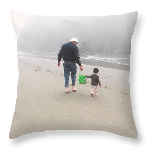 Hangin' With Grandpa At The Beach Throw Pillow by Micki Findlay - TheSingingPhotographer.com - various sizes, home decor, cushion, oregon, coast, bandon, beach, beach decor, family,