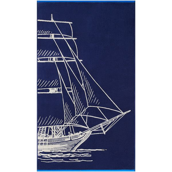 "Softesse Sail 40""x72"" Beach Towel (£41) ❤ liked on Polyvore featuring home, bed & bath, bath and beach towels"