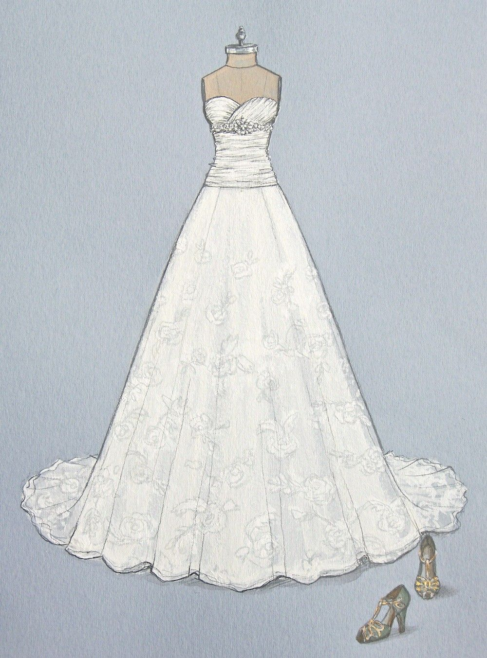 Porfolio of custom wedding dress sketches and illustrations for ...