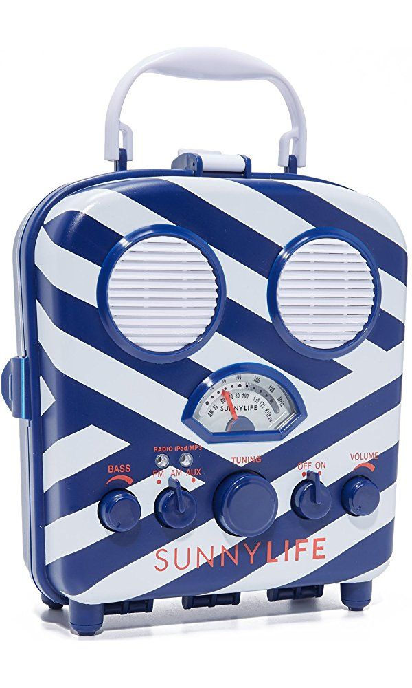 Image result for SunnyLife Women's Beach Sounds Speaker & Radio, Blue/White, One Size